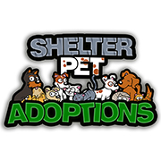 Logo for Shelter Pet Adoptions website with information on where to find pets for adoption.